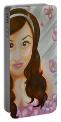 Portable Battery Charger featuring the painting Marisela by Marisela Mungia