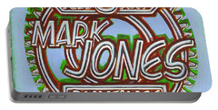 Mark Jones Velo Art Painting Blue Portable Battery Charger by Mark Jones