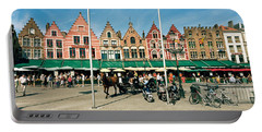 Market At A Town Square, Bruges, West Portable Battery Charger