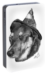 Portable Battery Charger featuring the drawing Marlee In Witch's Hat -021 by Abbey Noelle