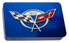 Portable Battery Charger featuring the photograph Marque 50th Anniversary Corvette by John Schneider