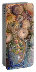 Portable Battery Charger featuring the painting Marshmallow Flowers by Laurie L
