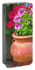 Portable Battery Charger featuring the photograph Martha Washington Geraniums In Textured Clay Pot by Sandra Foster
