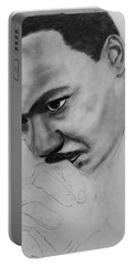 Portable Battery Charger featuring the drawing Martin Luther King Jr. Mlk Jr. by Michael Cross