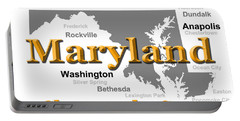 Maryland State Pride Map Silhouette  Portable Battery Charger
