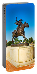 Portable Battery Charger featuring the photograph Masked Rider Statue by Mae Wertz