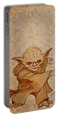 Portable Battery Charger featuring the painting Master Yoda Jedi Fight Beer Painting by Georgeta  Blanaru