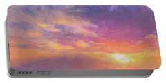Maui To Molokai Hawaiian Sunset Beach And Ocean Impressionistic Landscape Portable Battery Charger by Karen Whitworth