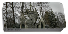 Portable Battery Charger featuring the photograph Mausoleum In Winter by Kathy Barney