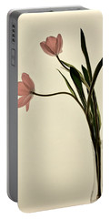 Mauve Tulips In Glass Vase Portable Battery Charger