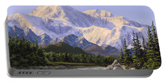 Majestic Denali Alaskan Painting Of Denali Portable Battery Charger by Karen Whitworth