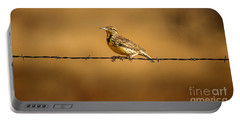 Meadowlark And Barbed Wire Portable Battery Charger