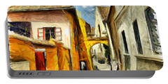 Medieval Street In Sighisoara Transylvania Romania - Painting Portable Battery Charger