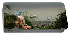 Portable Battery Charger featuring the photograph Meditating Buddha Views Container Seaport Singapore by Imran Ahmed