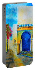 Portable Battery Charger featuring the painting Mediterranean Medina by Ana Maria Edulescu