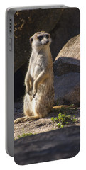 Meerkat Looking Left Portable Battery Charger by Chris Flees
