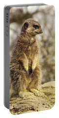 Meerkat On Hill Portable Battery Charger by Pixel Chimp