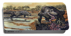 Megalania Giant Monitor Lizard Eating Portable Battery Charger