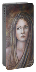 Portable Battery Charger featuring the painting Melancholy 080808 by Selena Boron