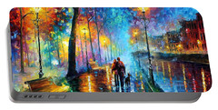 Melody Of The Night - Palette Knife Landscape Oil Painting On Canvas By Leonid Afremov Portable Battery Charger