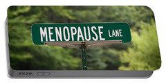 Portable Battery Charger featuring the photograph Menopause Lane Sign by Sue Smith