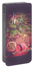 Meowy Christmas Portable Battery Charger by Melanie Lankford Photography