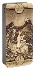 Mermaid And Dolphin From A Midsummer Nights Dream Portable Battery Charger by Arthur Rackham