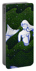 Portable Battery Charger featuring the mixed media Mermaid At The Garden by Donna Huntriss