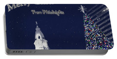 Merry Christmas From Philly Portable Battery Charger by Photographic Arts And Design Studio