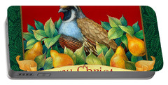 Portable Battery Charger featuring the painting Merry Christmas Partridge by Randy Wollenmann