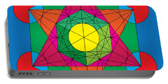 Metatron's Cube In Colors Portable Battery Charger
