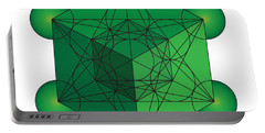 Metatron's Cube In Green Portable Battery Charger