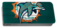 Miami Dolphins Football Team Retro Logo Florida License Plate Art Portable Battery Charger by Design Turnpike