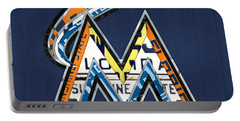 Miami Marlins Baseball Team Vintage Logo Recycled Florida License Plate Art Portable Battery Charger
