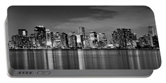 Miami Skyline At Dusk Black And White Bw Panorama Portable Battery Charger