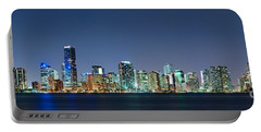 Portable Battery Charger featuring the photograph Miami Skyline At Night by Carsten Reisinger