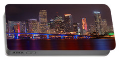 Miami Skyline At Night Panorama Color Portable Battery Charger