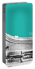Miami Skyline Fontainebleau Hotel - Teal Portable Battery Charger