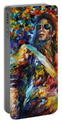 Michael Jackson - Palette Knife Oil Painting On Canvas By Leonid Afremov Portable Battery Charger by Leonid Afremov