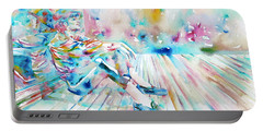 Michael Jackson - Watercolor Portrait.8 Portable Battery Charger by Fabrizio Cassetta