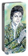 Michael Jackson - Watercolor Portrait.19 Portable Battery Charger by Fabrizio Cassetta