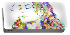 Michael Jackson - Watercolor Portrait.6 Portable Battery Charger
