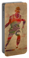 Michael Jordan Chicago Bulls Vintage Basketball Player Watercolor Portrait On Worn Distressed Canvas Portable Battery Charger