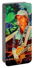 Portable Battery Charger featuring the painting Michael Kang At Horning's Hideout by Joshua Morton