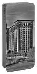 Michigan Central Station Portable Battery Charger by Nicholas  Grunas