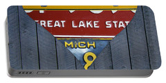 Michigan Love Heart License Plate Art Series On Wood Boards Portable Battery Charger