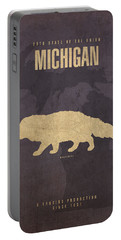 Michigan State Facts Minimalist Movie Poster Art  Portable Battery Charger by Design Turnpike