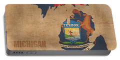 Michigan State Flag Map Outline With Founding Date On Worn Parchment Background Portable Battery Charger by Design Turnpike
