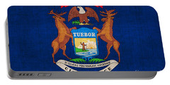 Michigan State Flag Portable Battery Charger by Pixel Chimp