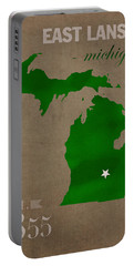 Michigan State University Spartans East Lansing College Town State Map Poster Series No 004 Portable Battery Charger by Design Turnpike